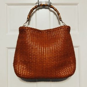 Gucci Woven Leather Bamboo Handle Tote